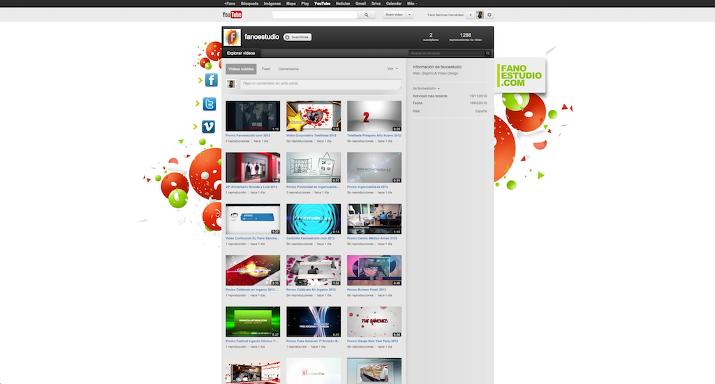 Youtube Fanoestudio.com 2012 web